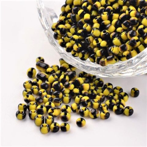 Seed Beads - 8/0 - Yellow/Black Opaque - 50g